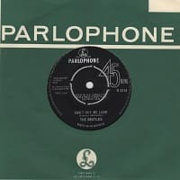 Beatles' single Can't Buy Me Love number one hit record from 1964 - b-side song is You Can't Do That
