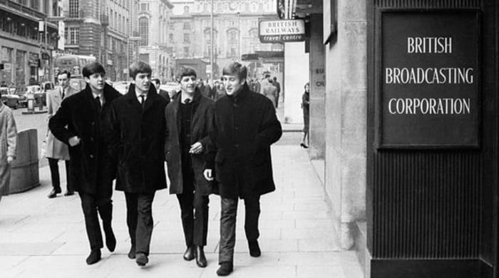 Beatles Live At The BBC - walking outside the offices