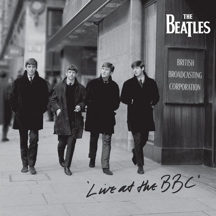 The Beatles Live At The BBC Album Cover - black and white remaster 2013