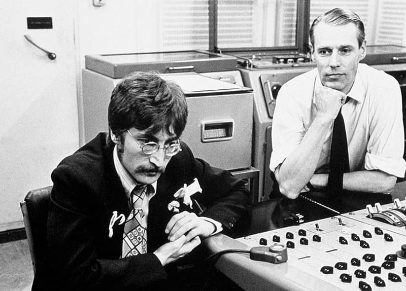George Martin and John Lennon in the studio - Beatles Forum and Cavern Club