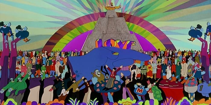 Yellow Submarine Film - the sub on the pyramid. The Beatles movies, Cavern Club and Fab Four Forum