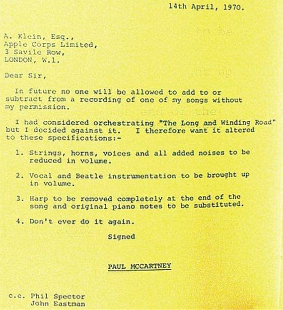 Paul McCartney's letter to Allen Cline - Phil Spector - The Long And Winding Road