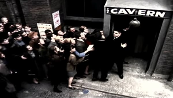 Cavern Club entrance and a bouncer